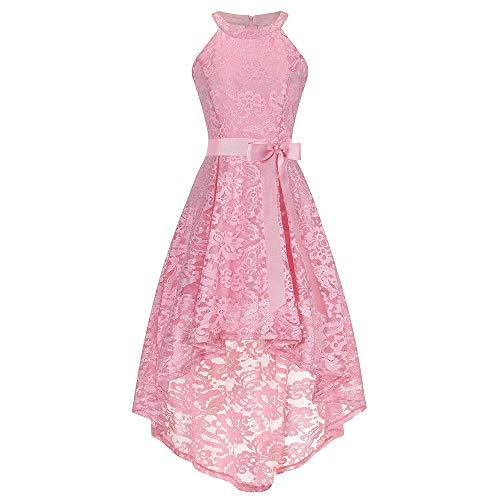 OverDose Damen Damen Damenmode ärmellose Zeremonie Hochzeit Brautjungfer hohl Formale dünne Spitze langes Kleid Dirndl(Rosa,EU-32/CN-S) (Der Stil Im Röcke Jahre 50er)