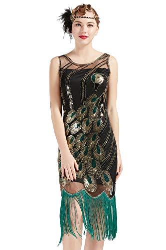 Für Pfau Muster Kostüm Einen - Coucoland 1920s Kleid Damen Pfau Muster Flapper Charleston Kleid mit Fransen Great Gatsby 20er Jahre Cocktail Kleider Damen Fasching Kostüm Kleid (Schwarz Grün, XXXL)