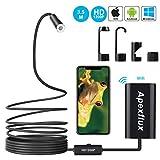 Apexflux WiFi Endoskop Kamera, Wireless USB Endoskop Inspektionskamera, Einstellbare 8mm Objektiv 1200p Semi-Starr Endoskop Endoskop für Android, iPhone, Samsung, Tisch (schwarz, 3.5m)