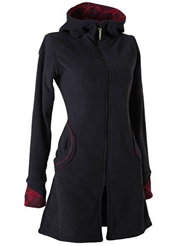 Vishes - Alternative Bekleidung - Warmer Elfen Kurzmantel mit Zipfelkapuze schwarz 46