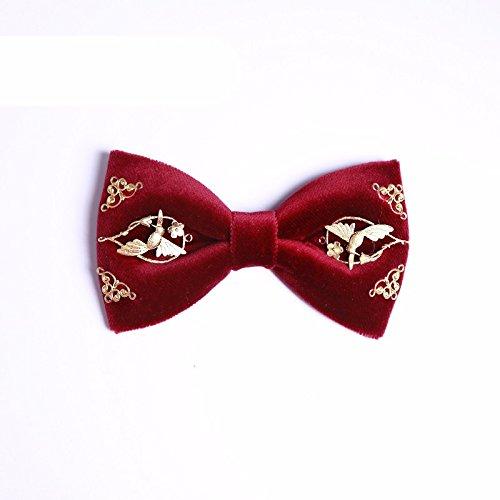 XZLP99 Männer Binden Wolle Handmade Vögel Und Duftenden Blumen China Wind Von Der Who Und Der Bräutigam Brücke Eine Krawatte, Wein Rote Krawatte Begleitet (Vogel Krawatte)