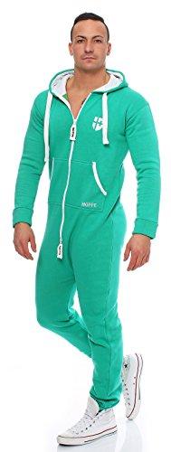 Gennadi Hoppe Herren Jumpsuit Onesie Jogger Einteiler Overall Jogging Anzug Trainingsanzug Slim Fit,grün,XXXX-Large