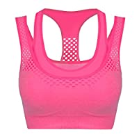 CRAVOG Women Running Gym Yoga Fitness Stretch Workout Tank Top Padded Sport Bra
