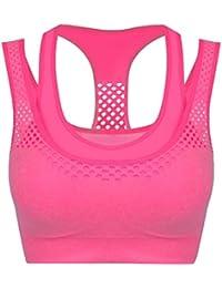 fedc0f944d CRAVOG Women Running Gym Yoga Fitness Stretch Workout Tank Top Padded Sport  Bra
