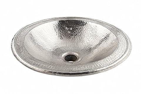 Rund Kupfer handgefertigtes marokkanisches Bad - Waschbecken- gehämmert & eingraviert - Di 39 cm