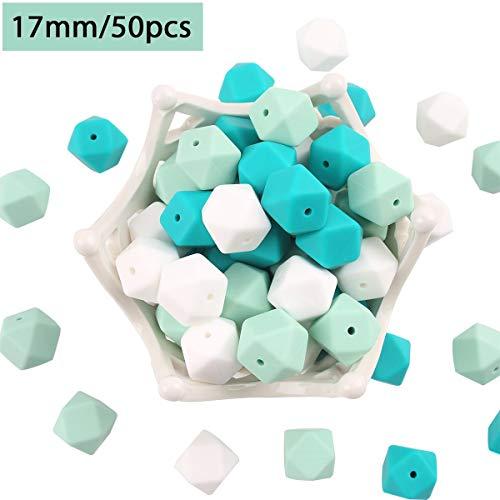 baby tete Perles de Dentition en Silicone Turquoise 50pcs 17mm Boules de Dentition Bricolage Collier de Soins Infirmiers Bracelets Accessoires