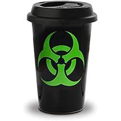 Taza mug desayuno de cerámica negra con tapa de silicona Take Away 40 cl. Modelo Biohazard