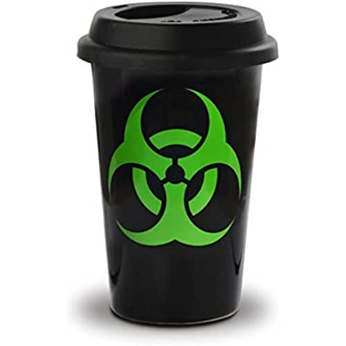 dia del orgullo friki Taza mug desayuno de cerámica negra con tapa de silicona Take Away 40 cl. Modelo Biohazard