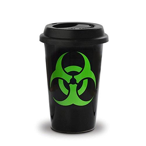 Voodoo Island - Schwarzer Keramik-Frühstücks-Mitnahmetasse mit schwarzem Silikondeckel 40 cl. Biohazard-Design