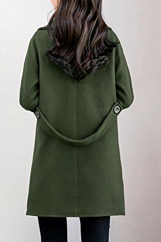 Les Femmes Élégantes De Revers Croisé D'un Trench Classique S'épaissit green
