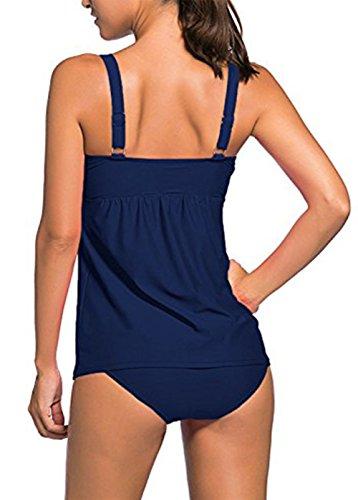Colfeel Damen Bikini Set Badeanzug Zweiteilig Tankini Schwimmanzug Bauchweg Bademode Strandmode Bikini Oberteile + Höschen