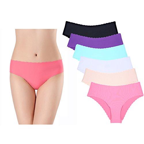 KISSLACE Damen Slip Unsichtbare Nahtlose Dehnbare Bequeme Unterhose Hipsters 6er Pack (L=EU50/52, Bunte Farben)