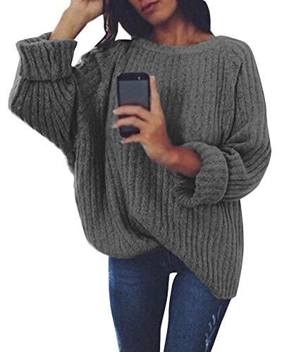 Tomwell Damen Rollkragenpullover Elegant Langarm Strickpullover Weich Rippstrick Pulli mit Stehkragen für Winter Dunkelgrau DE 38 -