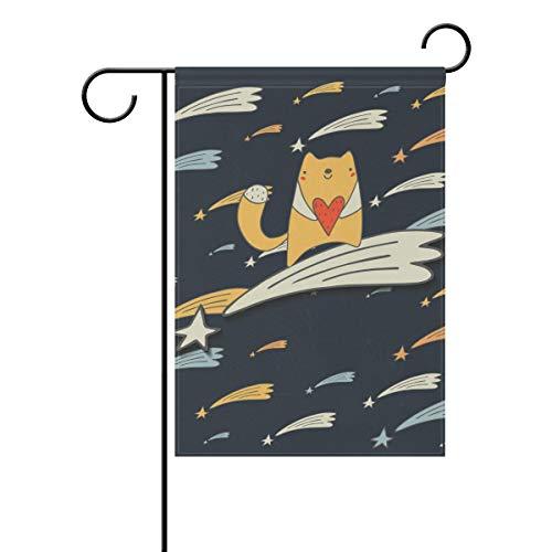 DEZIRO Gartenflagge Katze in Meteor, doppelseitig, Polyester, 1, 28x40(in)