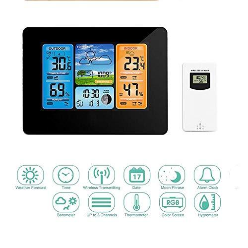 Estación meteorológica inalámbrica con sensor al aire libre,relojes de monitoreo del tiempo con visualización...