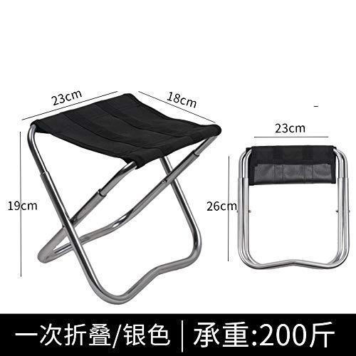 WXZB Klapphocker Portable Mini Horse Mini Außenstuhl Kleine Hocker für den Haushalt Raum Erwachsenen Angeln Hocker, einmal gefaltet [Silber]