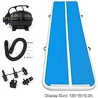 Fojusteu Colchoneta Inflable Gimnasia Pista Inflatable Air Track Tumbling Azul Blanco 3/4/5/6M Gymnastic/Yoga/Taekwondo/Agua Flotante/Alfombra de Entrenamiento - 4M