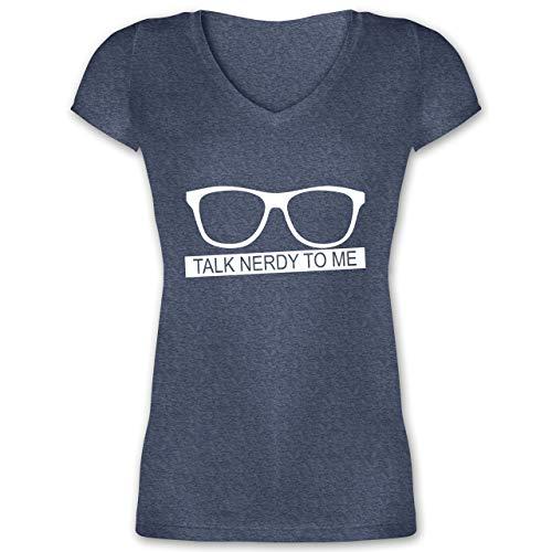 Nerds & Geeks - Talk Nerdy to me - weiß - XS - Dunkelblau meliert - XO1525 - Damen T-Shirt mit V-Ausschnitt