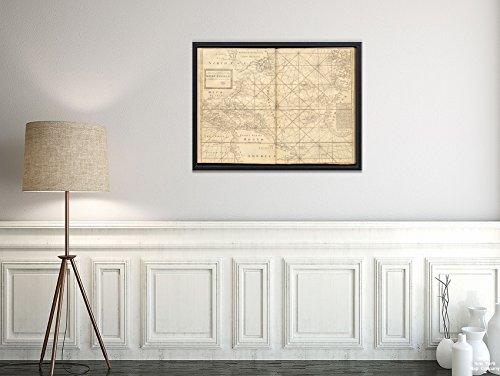 New York Map Company 1737 Karte West Indies/Atlantic Ocean Eine Neue Generall Chart für die West Indies of E. Wrights-Projektion, Historischer Antik-Vintage-Nachdruck, fertig zum Einrahmen -