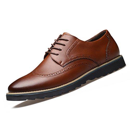 GRRONG Chaussures En Cuir Pour Homme En Cuir Véritable Loisirs Noir Marron red