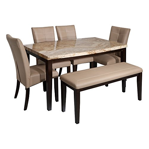 Evok  Stella Solidwood Dining  Set 1 Table + 4 Chair + 1 Bench in Beige + walnut colour