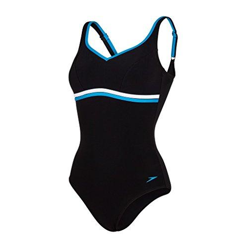 Speedo Contourluxe Bañador 1 Pieza, Mujer, Multicolor (Black/Blue), 40 (Talla de fabricante: 34)