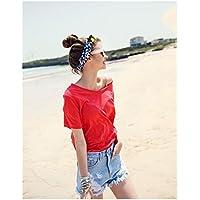 TAIDUJUEDINGYIQIE Camiseta de Manga Corta para Mujer Summer New Solid Red, XXL