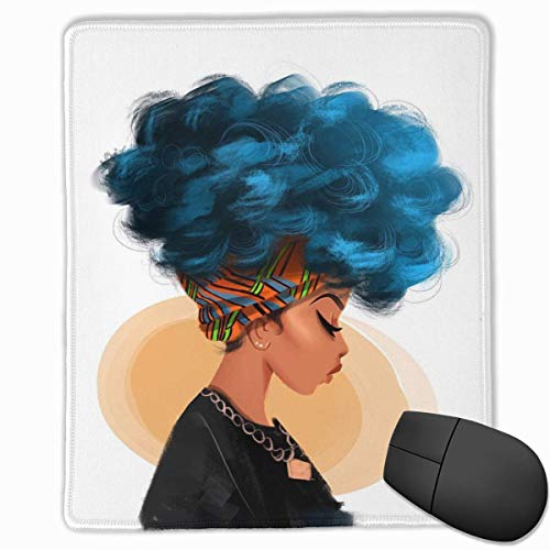 Blue Hair Color African Woman Rectangle Non-Slip Rubber Mouse Pad with Stitched Edges (Light Purple Extensions Hair)