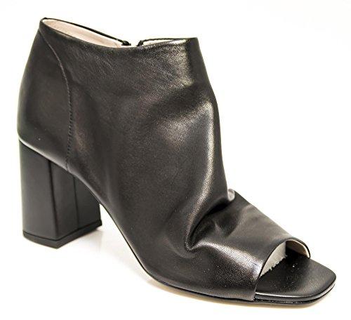 CAFe NOIR Tronchetti Chaussures à Bout Ouvert les Femmes Café Noir LC427 Germé en Cuir Noir Nero