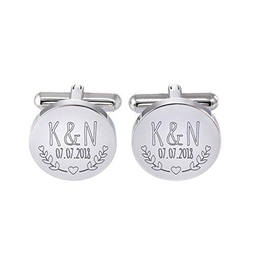 Gravado gemelli in acciaio inox di forma circolare con incisione per le nozze - personalizzati con [iniziali] e [data] - motivo romantico - regalo per lo sposo e per i testimoni - dono di matrimonio