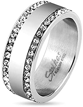 Bungsa® Kristall Fingerring silber mit 2 schmalen Zirkonia Stein Außenringen Edelstahl Damen & Herren 49-70 (Ring...