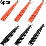 6 Stücke High-Pitch Kunststoff Hundepfeifen Hundetraining Pfeife mit Schlüsselbund für Bell Kontrolle und Rückruf Training, Schwarz und Orange