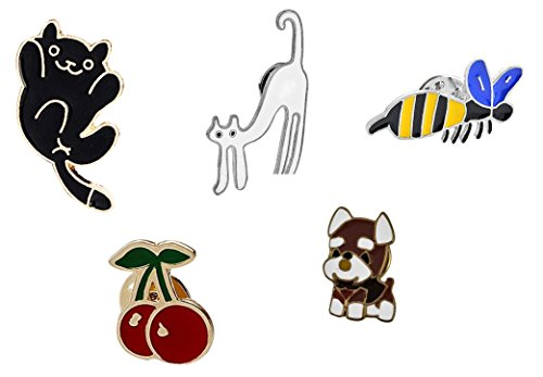 Brosche Anstecknadel Anstecker Pins Metall Brosche 5 Stück Set Katzen Hund Biene Kirschen
