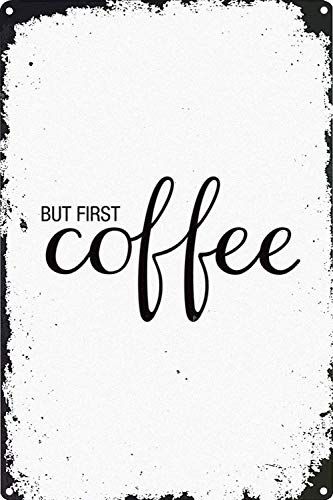 But First Coffee Póster Pared Metal Creativo Placa