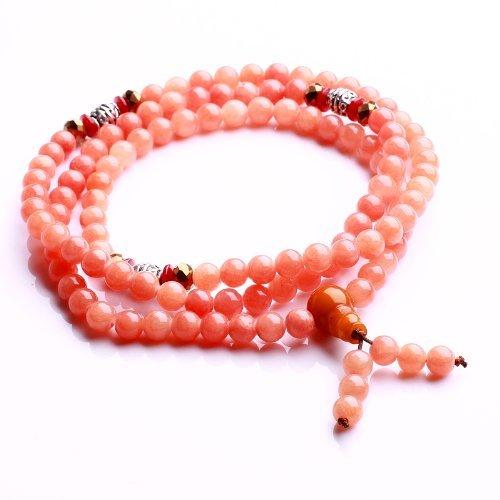Qiyun Tibet Meditation bouddhiste 6mm priere Mala Rosary Necklace Bracelet de jade rose