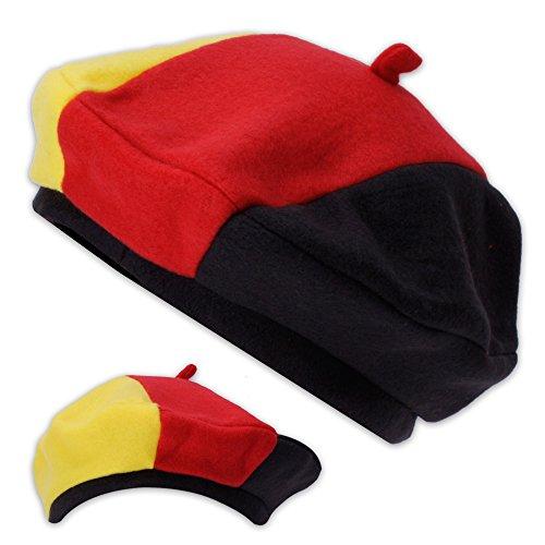 Baskenmütze Fanartikel Mütze Fussball in Deutschland Farben für die Fußball-WM 2018 schwarz rot gelb -