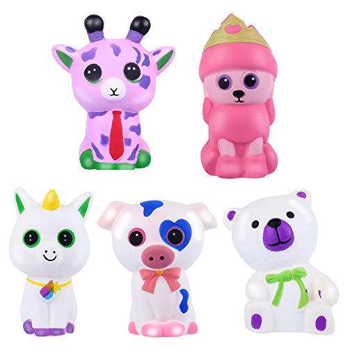 Dekompressionsspielzeug, Chshe❤❤, 5 Stück Adorable Animals Slow Lising Cream, Squeeze Scented Stressabbau-Spielzeug, Super Slow Increase (Multicolor)