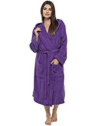Ladies Robe Luxury Terry Towelling Cotton Dressing Gown Bathrobe Highly  Absorbent Women Hooded and Shawl Towel b341eda9a