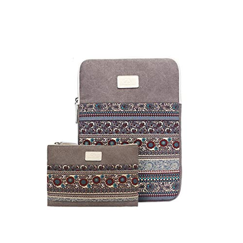 KERVINFENDRIYUN YY4 Patten Canvas Laptop Hülle Tasche für Macbook Air/Pro 11-15 Zoll mit kleinem Fall Campatible Macbook Ladegerät (Color : Vertical Light gray, Size : 14 inches)