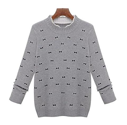 Chandail Casual Knit Col Rond T-Shirt Des Femmes Brodées Creux Blouse Overs Lâche Tops Manches Longues Manteau Court Sportswear Slim Solide Couleur . Gray . L