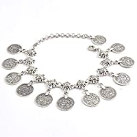 Vintage Style Antique Silver Anklet Color Coin Tassels Beach Ankle Chain