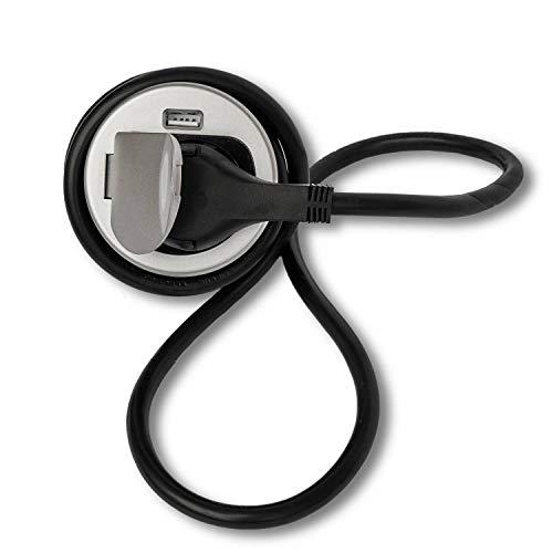 Presa da incasso con attacco USB per cucina e ufficio – Presa di montaggio rotonda in alluminio e plastica di alta qualità ideale per piano di lavoro, presa da tavolo o presa da incasso con
