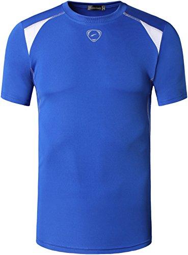 Jeansian Uomo Asciugatura Rapida Sportivo Casuale Slim Sports Fashion Tee T-Shirts Camicie LSL1058 Blue