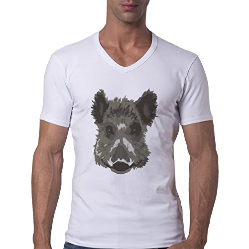 Pig Animal Farm Hog Head Black Herren V-Neck T-Shirt Weiß