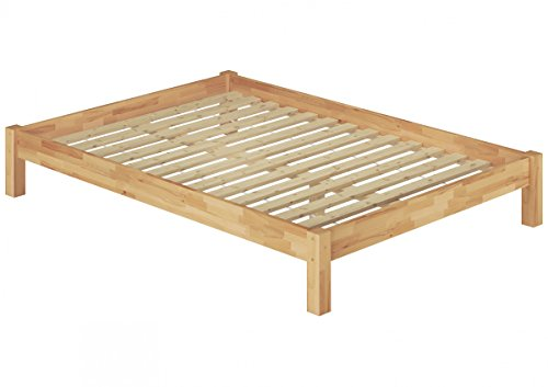 Erst-Holz® Französisches Bett 140x200 Doppelbett Futonbett Massivholzbett Buche Natur Rollrost 60.84-14