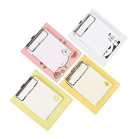 Zhi Jin 3Pack Süßes Sticky Notes mit Mini Klemmbrett Note Pads Selbstklebende Marker Memo Geschenk-Set Office Schulplaner 50Blatt/Pack kiwi