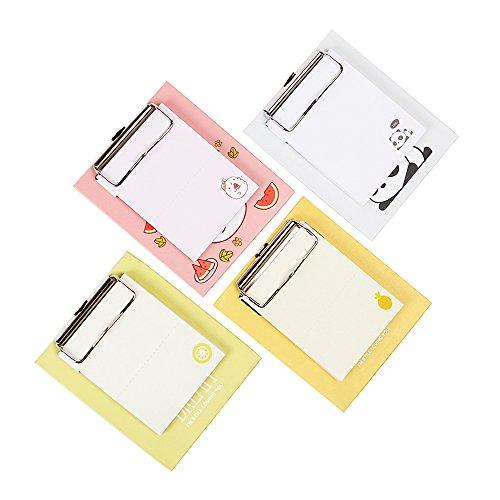 Zhi Jin 3Pack Süßes Sticky Notes mit Mini Klemmbrett Note Pads Selbstklebende Marker Memo Geschenk-Set Office Schulplaner 50Blatt/Pack kiwi (Zwischenablage-pack Von 12)