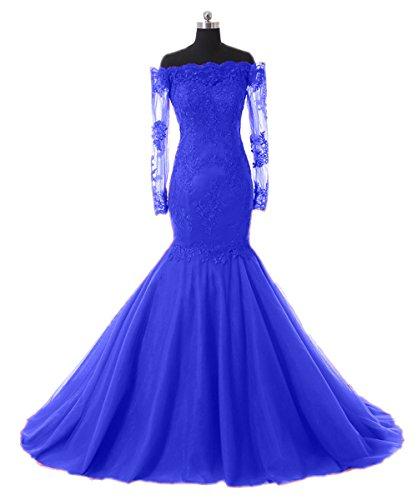 Promworld Damen A-Linie Kleid Königsblau