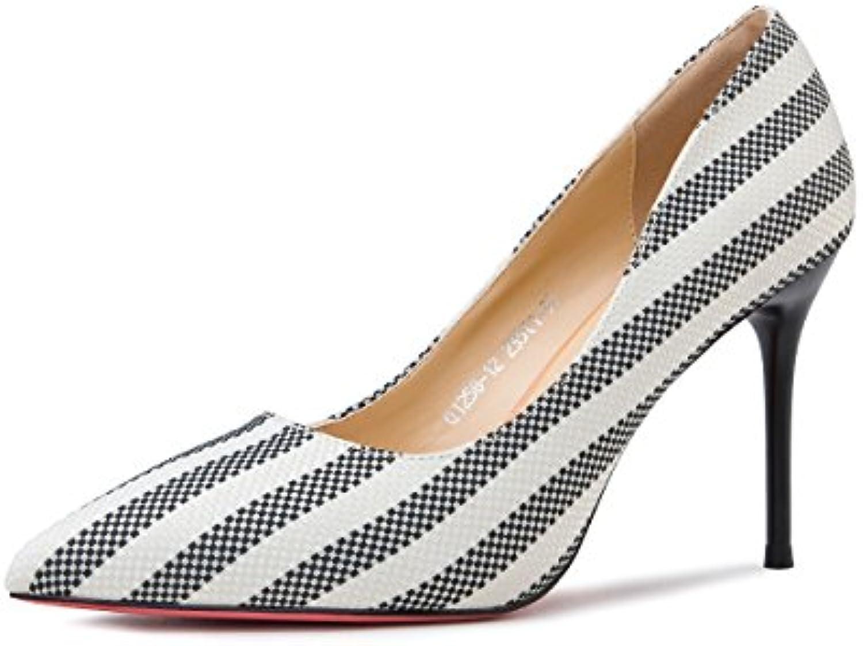 Sandalias Feifei Zapatos de Mujer Summer Fashion Stripe de Tacón Alto 9.3CM Banquet Single Shoes Thin Heels (Color...