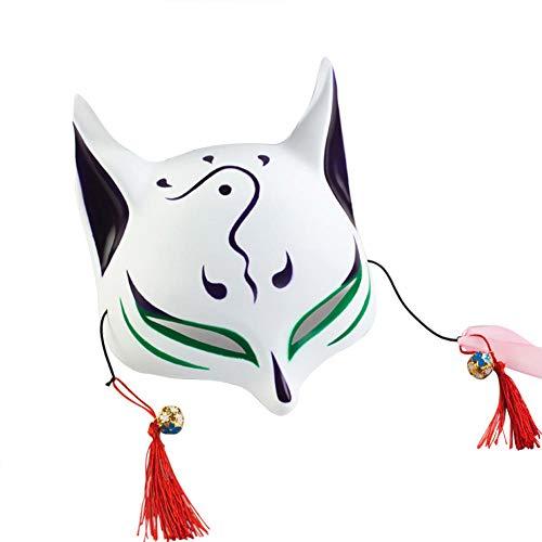 keland Erwachsene Fuchsmaske Gesichtsmaske Kind japanische Kabuki Maskerade Kostüm Maske Halloween Rollenspiel (Grün)